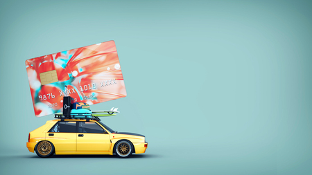 Cars with credit cards are on the roof. 3d rendering and illustration. 版權商用圖片
