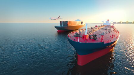 Tanker Cargo and aircraft at sea. 3d rendering and illustration.