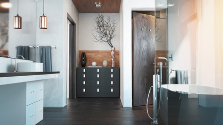 Interior bathroom. 3D rendering and illustration.