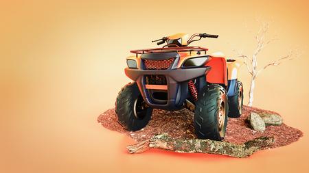 Car ATV orange is an orange background. 3d rendering and illustration. Stock Photo