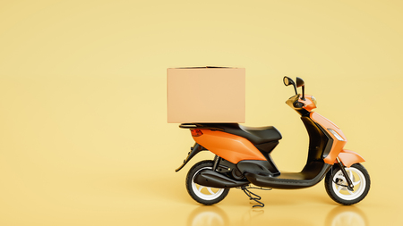 Item boxes are on motorcycles. 3d rendering and illustration. Banco de Imagens