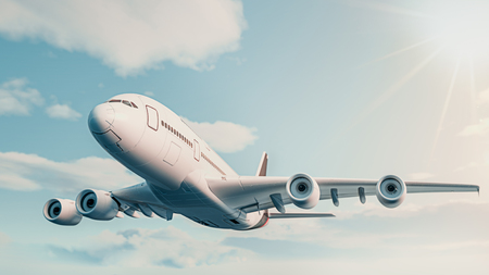 The plane fly in the sky. 3d rendering and illustration.