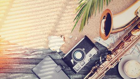 Saxophone, cameras, books, Rumpus, map address space baphaen wood. 3d rendering and illustration.