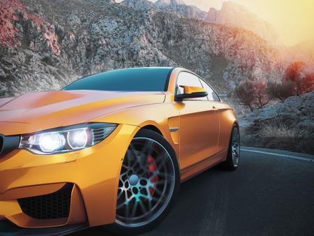 De sportwagens vooraan met bergachtige achtergrond, met de ochtendzon. 3D-rendering en illustratie.