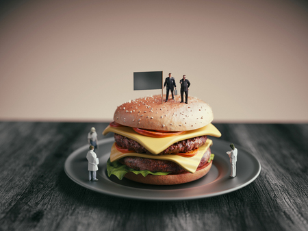 Student athlete is on a hamburger. Researchers are examining the hamburgers. 3d render and illustration. Stock Photo