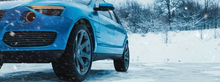 Winter time and car in snow. 3d render and illustration. 版權商用圖片