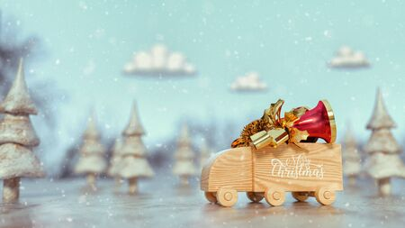 Wooden toy truck Truck Bell on top. merry christmas. 3d render and illustration. 免版税图像