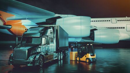 Transportation and logistic concept. truck plane forklift for logistic Import export background. 3d rendering and illustration.