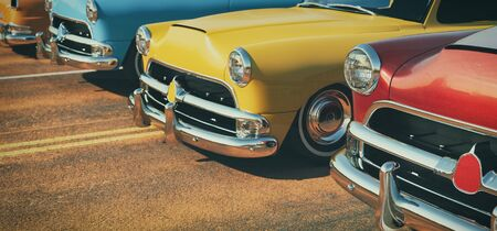 Classic cars in a row. 3d rendering and illustration.