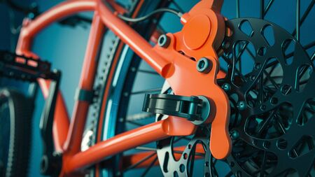 Close-up of bicycle gears. 3d rendering and illustation.