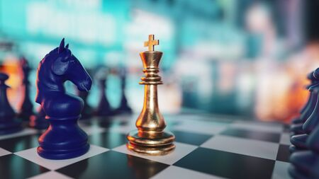 chess board game for ideas and competition and strategy, business success concept.3d rendering and illustration.