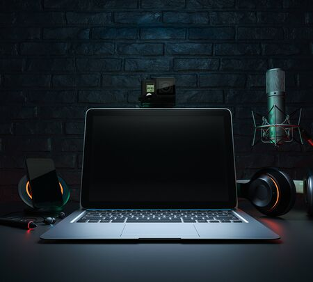 Office desk background, headphones recording scene project ideas concept, With laptop computer, mobile phones.3d render and illustration
