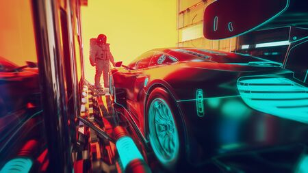 The technology behind modern cars -futuristic concept.3d illustration