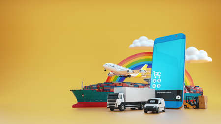 Online delivery service concept, online order tracking,Delivery home and office. 3d render and illustration.
