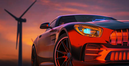 The image in front of the sports car scene behind as the sun going down with wind turbines in the back. 3d render and illustration.