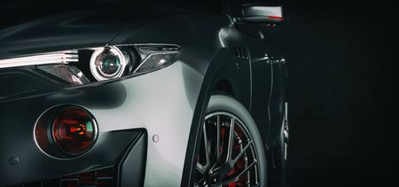 Modern cars are in the studio room. 3d illustration and 3d render.