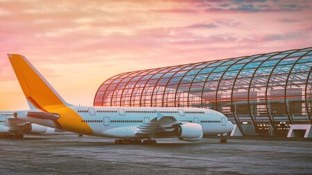 The plane is parked in the airport. 3d rendering and illustration. Фото со стока