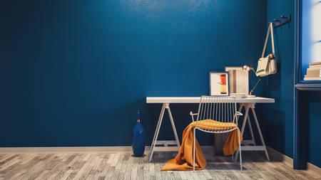 Blue office room design. 3d render and illustration.