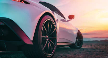 The image in back of the sports car scene behind as the sun going down with in the back. 3d rendering and illustration. 免版税图像
