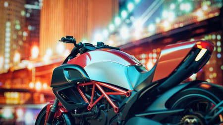 Motorcycles are in the city at night. 3d rendering and illustration. 免版税图像