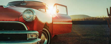 Red classic car. 3d render and illusration.