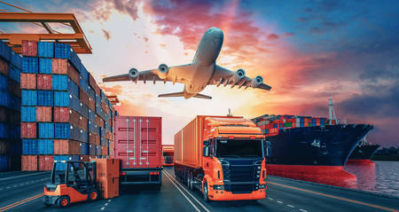 Transportation and logistics of Container Cargo ship and Cargo plane. 3d rendering and illustration. 免版税图像