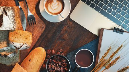 Bread and coffee, top viwe photo,3d render and illustration.