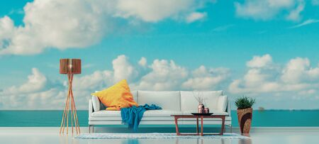 living room behind the sea, sofa, coffee table, vase and lamp.3d render and illustration.
