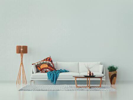 White living room, sofa, coffee table, vase and lamp. 免版税图像