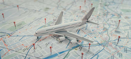 aircraft and location marking with a pin on routes on world map. Adventure, discovery, communication, logistics, transport and travel theme concept background. 3d renderin and illusrration. 免版税图像
