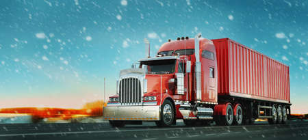 Red truck and snow.3d render and illustration.