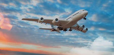 Plane and sky. 3D render and illustration. 免版税图像