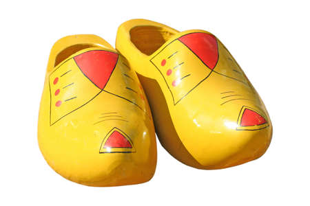 yellow and red wooden shoes  photo