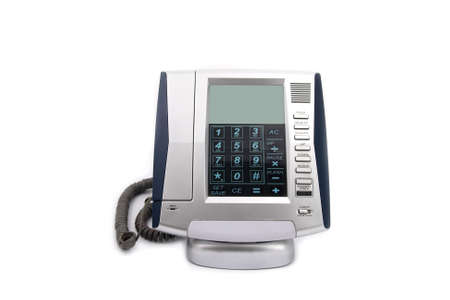 handset: Business phone close up on white isolated background