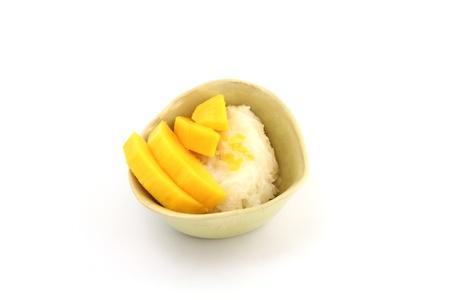 Sticky Rice Mango Thai Dessert isolated white background photo