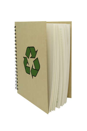 Recycle Notebook brown vertical isolated white background photo