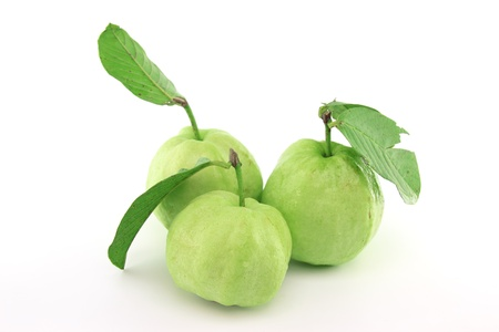 produce sections: Guavas with leaves Stock Photo