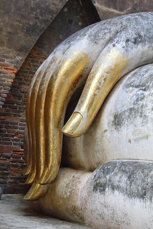 chum: Buddha Hand Wat Si Chum in Sukhothai historical park Stock Photo