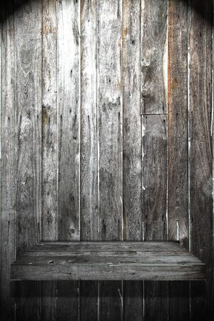Wood Shelf on Wood Wall have light Stock Photo - 10181356