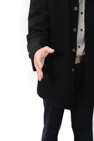 osiągnął: RÄ™ka biznesmen osiÄ…gnÄ…Å'