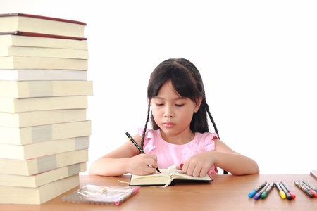 Asian little girl draw on a book isolated on a over white background photo