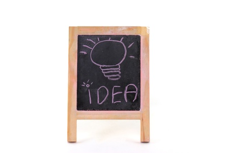 Bulb idea on black board  photo