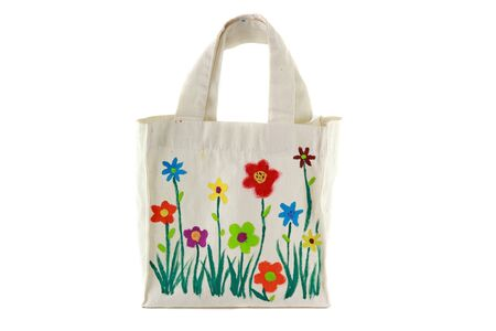 reusable: White cotton bag with flower paint by child
