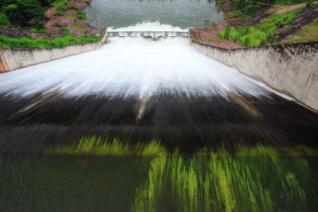 weir: Water release at dam wall  Stock Photo