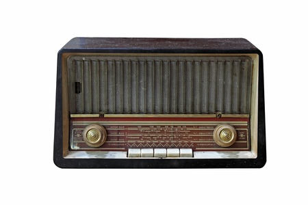 Grungy retro wooden radio on  isolated white background photo