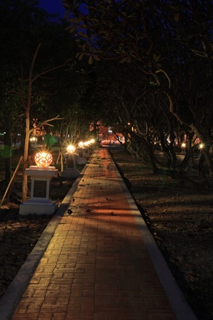Lamps along a walkway in Old City Sukhothai Thailand photo