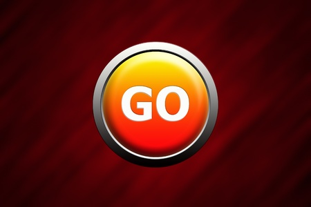Go button on red glass background Stock Photo - 10897284