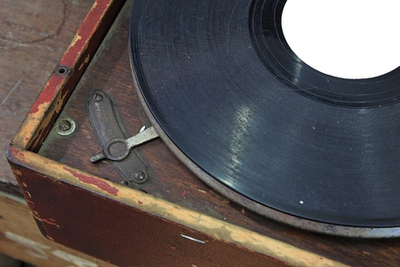 Vintage wind-up gramophone record player  photo
