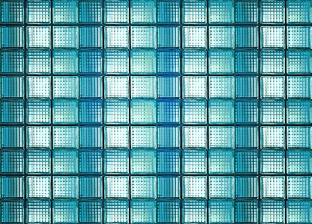 Blue glass box wall and ground photo