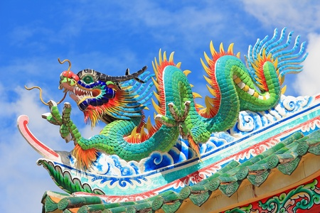 Chinese style dragon statue on the roof photo
